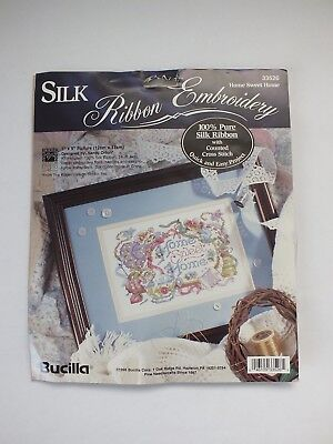 "VTG Bucilla Silk Ribbon Embroidery Kit Home Sweet Home 7"" X 5"""