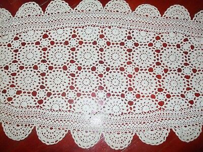 Vintage Handmade Table Doily Square tablecloth 110cm hand crochet lace