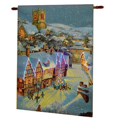 Christmas Decoration - Battery Operated - Fibre Optic Light up Tapestry - Houses