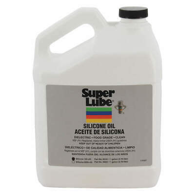 SUPER LUBE Pure Silicone Oil,100 cStPail,1 gal., 56101, Clear
