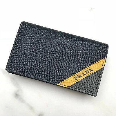 newest 2b9f4 262aa PRADA AUTH NAVY Saffiano Leather Striped Inset Business Card Case Holder  Wallet