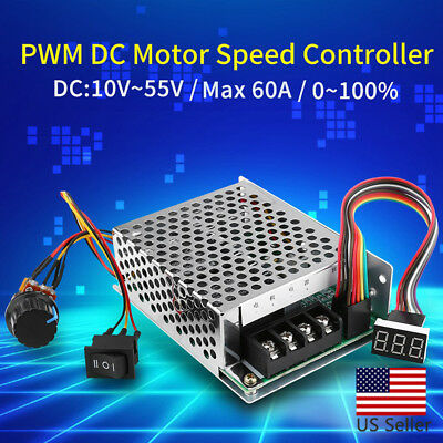 DC10-55V 12V 24V 36V 40A PWM Motor Speed Controller CW CCW Reversible Switch