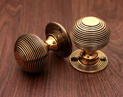 Antique Style Solid Brass Beehive Door Knob Aged brass finish 50mm