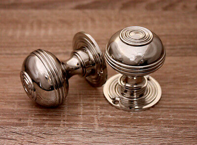 Pair Of Antique Nickel Bloxwich Door Knobs Traditional Antique Style Solid Brass