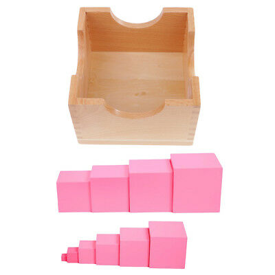Montessori Mini Pink Tower Family Set Child Baby Training Toy Home Teaching