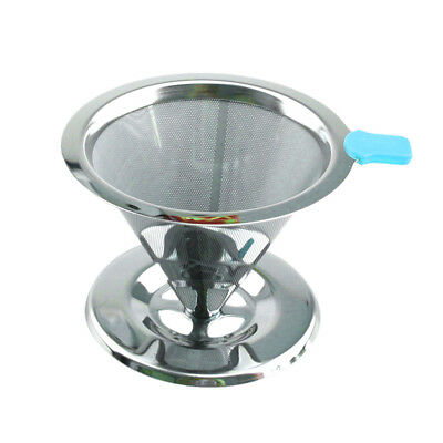 Metal Mesh Coffee Filter Cup Cone Pour Over Drip Dripper Holder #2 90mm