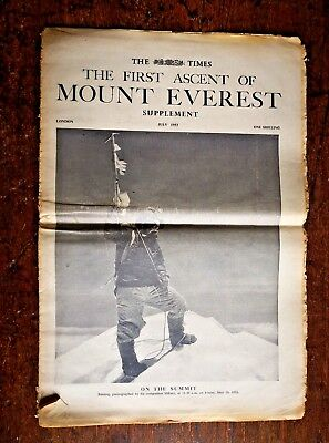 The Times Newspaper Supplement 'The First Ascent of Mount Everest' July 1953