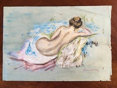 Old Original Pastel Masterpiece Painting Signed Renoir French Impressionist Nude