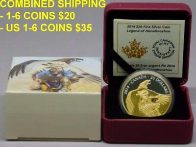 2014 Canada $20 Gold Plated Fine Silver Coin - Nanaboozhoo and the Thunderbird