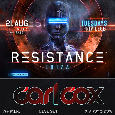 Carl Cox - Live @ Resistance (Privilege Ibiza) – 21-08-2018  – 2 AUDIO CD's