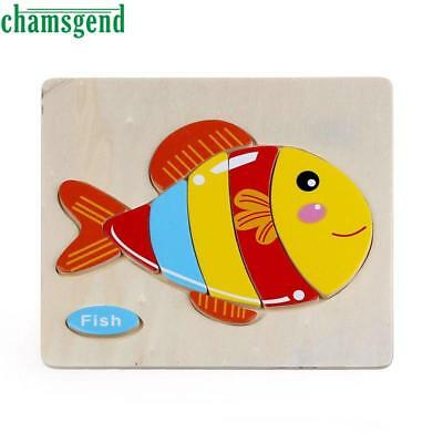 Wooden Cute Fish Puzzle Educational Developmental Baby Kids Training Toy
