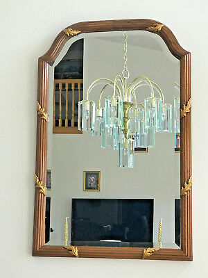 "Mid Century Rectangular Beveled Glass Carved Walnut & Gold Wood Mirror 38"" X 25"""