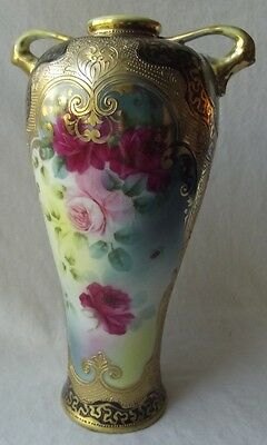 """Stunning Antique Japanese Nippon Hand Decorated Gold Gilt Vase -Unmarked 10-1/4"""""""