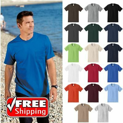 TALL Mens Pocket T-Shirt Heavy Weight Soft Ring Spun Comfort Blank Tee PC61PT