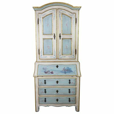 20th Century Italian Louis XIV Style in Lacquered Painted Wood Trumeau Cabinet