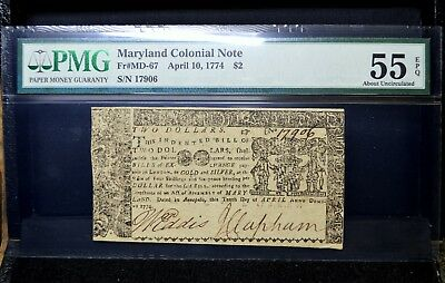 Colonial Currency ✪ Maryland April 10Th, 1774 ✪ Md-67 $2 Au-55 Epq Pmg ◢Trusted◣