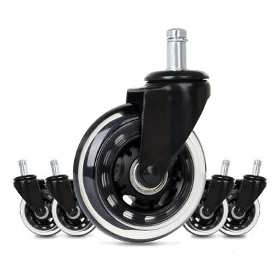 5pcs Replace Computer Office Chair Swivel Caster Wheels Rubber Rolling Rollers