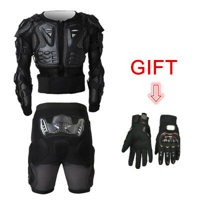3pcs Motocross Off-Road Motorcycle Full Body Armor Jacket Pants Gloves Suit Gift