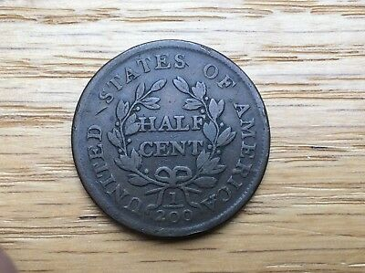 1804 Half Cent CHOICE  EF  Extra Fine  nice chocolate original penny spiked chin