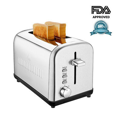 NEW Brushed Stainless Steel 2 Slice Toaster With Defrost and Reheat Button
