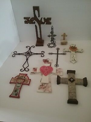 Lot Of 9 Vintage Religious Crosses Crucifixes Wall Mount & Standing