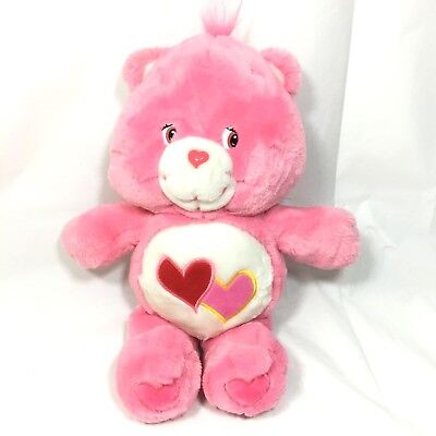 """Genuine Care Bears Pink Plush 13"""" Love A Lot 2 Hearts Embroidered - 2002"""