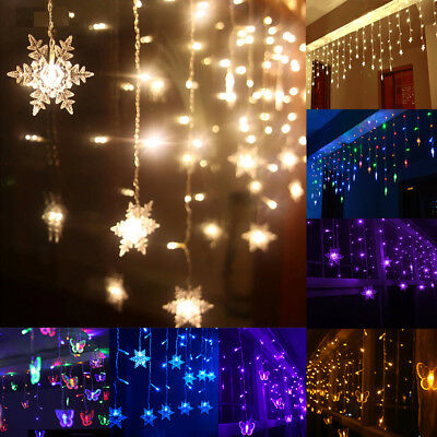 3.5M LED Indoor Outdoor Curtain Stars Fairy Light String Hanging Party Decor