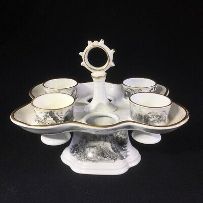 English porcelain egg stand & cups, bat printed with Regency prints, c. 1825