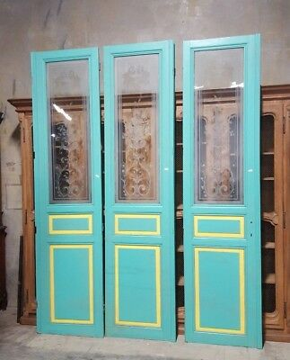 """Set of Three Salvaged Antique French Interior Doors With Etched Glass 9'6"""" Tall"""