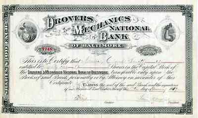 1917 Drovers & Mechanics National Bank of Baltimore Stock Certificate