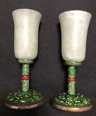 Antique Chinese Jade And Enamel Wine Cups
