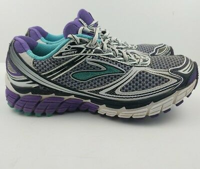 12e2cc5ea26 BROOKS GHOST 5 Women s Running Athletic Shoes Purple Gray Teal Size ...