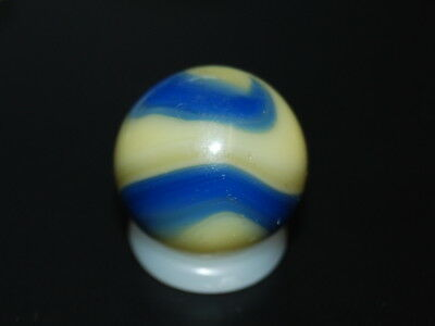 Vintage Marbles:1920's- Nice Akro Agate Yellow Blue Corkscrew Marble  A-19