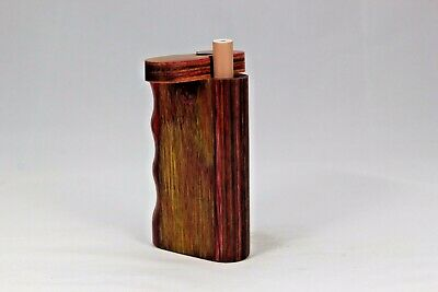 "3"" Dugout One Hitter Gold Merlot Diamond Wood Twist Top With Aluminum Cigarette"