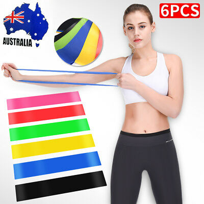 6PCS Rubber Resistance Bands Fitness Workout Elastic Training Band For Yoga Pila