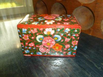 Vintage Hand Painted Intricate Flower Wooden Playing Card Box