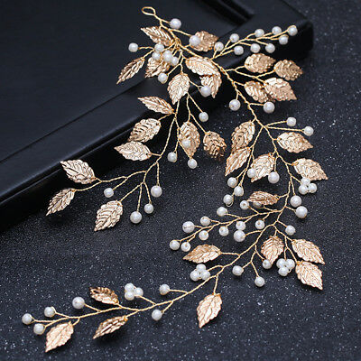 Gold Bridal Wedding Leaf Branch Pearl Hair Clip Hairpin Headpiece Jewelry Gif