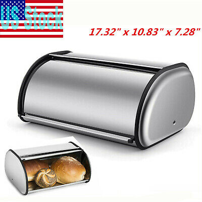 Silver Rolltop Bread Box Stainless Steel Storage Bin Kitchen Cake Food Container
