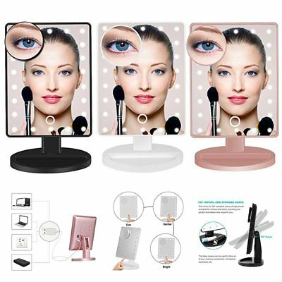 USB Lighted 10X Magnification Make-up Beauty Vanity Mirror 22 LED Touch Light