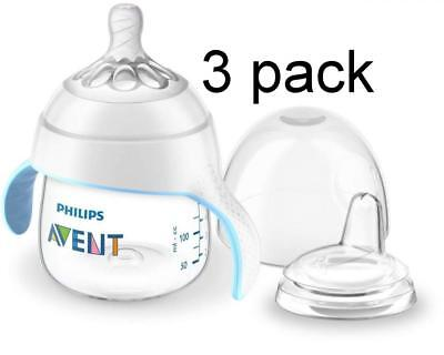 3 pack Philips Avent My Natural Trainer 5oz Sippy Cup, Clear  SCF262/03   NEW