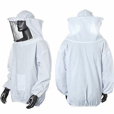 Beekeeping Jacket With Veil Hood Bee Keeping Protective Clothes One Size White