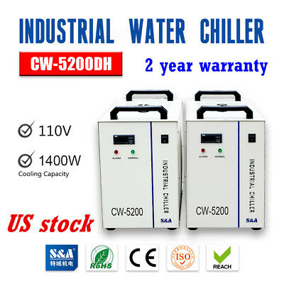 US S&A CW-5200DH Industrial Water Chiller for One 130-150W CO2 Glass Laser Tube