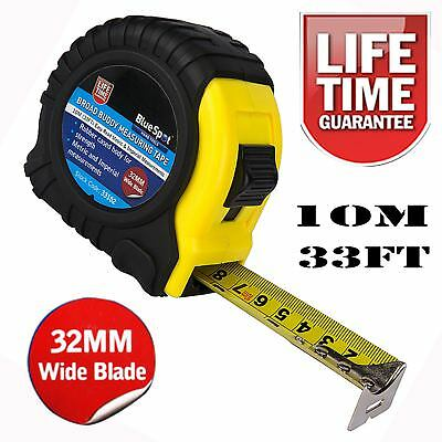 10m Measuring Tape Broad Buddy Measure 32mm Extra Wide Blade Max Tape Easy Read