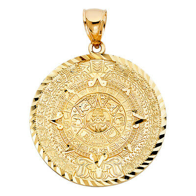 14k Yellow Gold Large Calendario Azteca Charm Pendant  (40mm x 40mm)