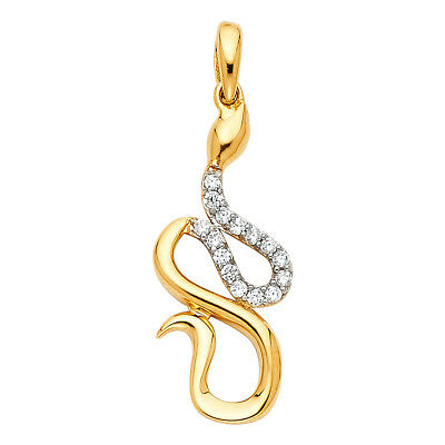 14k Yellow Gold with White CZ Accented Small//Mini Charm Pendant 24mm x 10mm