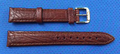 Brown Genuine Leather 16mm padded thick stitched Vintage NOS Watchband