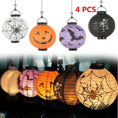 4PC Halloween LED Paper Lantern Pumpkin Spider Bat Scary Hanging Night Party Dec