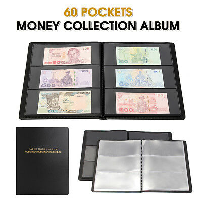Leather Collection Album Paper Money Note Holder Storage 60 Pockets Collecting