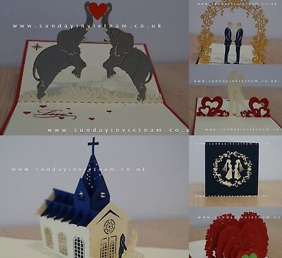 Mother's Day Wedding Anniversary Card 3D Pop Up Handmade Greeting Cards UK