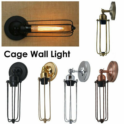 Vintage Industrial Metal Cage Wire Frame Loft Antique Retro Wall Light Lamp UK